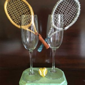 """Love"" Tennis Wedding Glass"