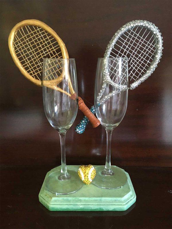 """Love"" Tennis Wedding Glass"